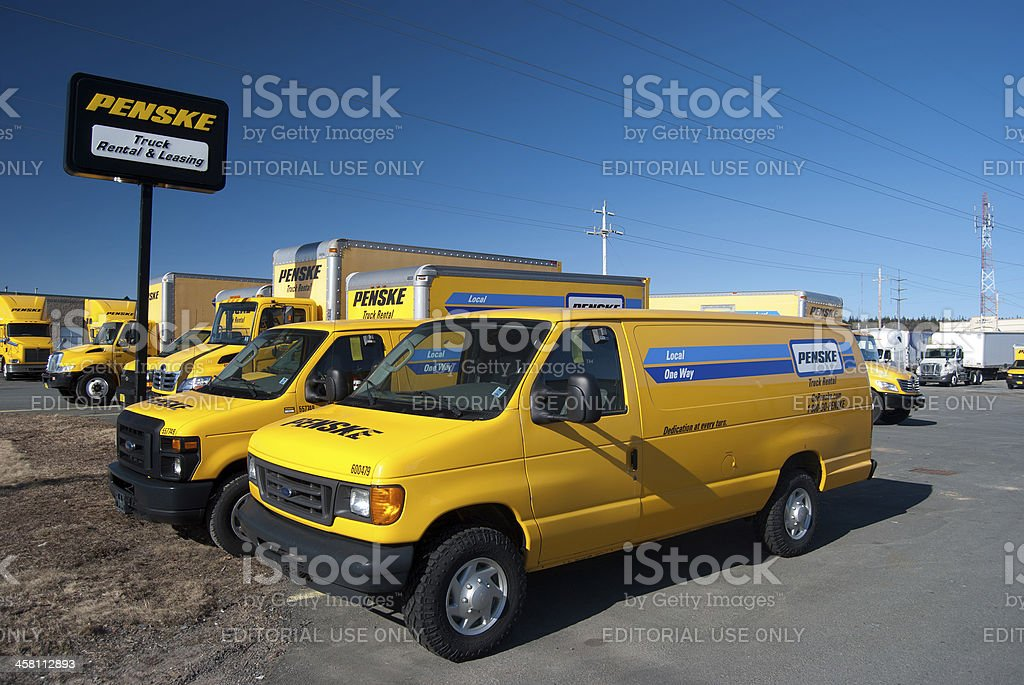 Yellow Penske Rental Trucks on the Lot royalty-free stock photo