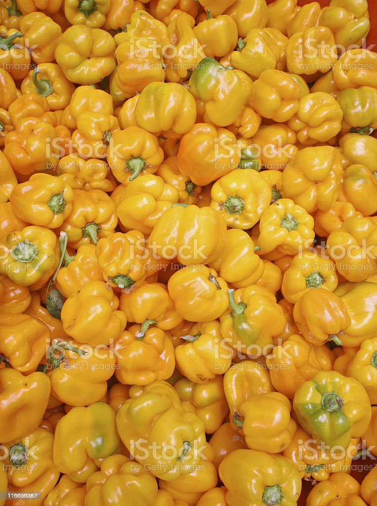 Yellow Peppers at the Market royalty-free stock photo