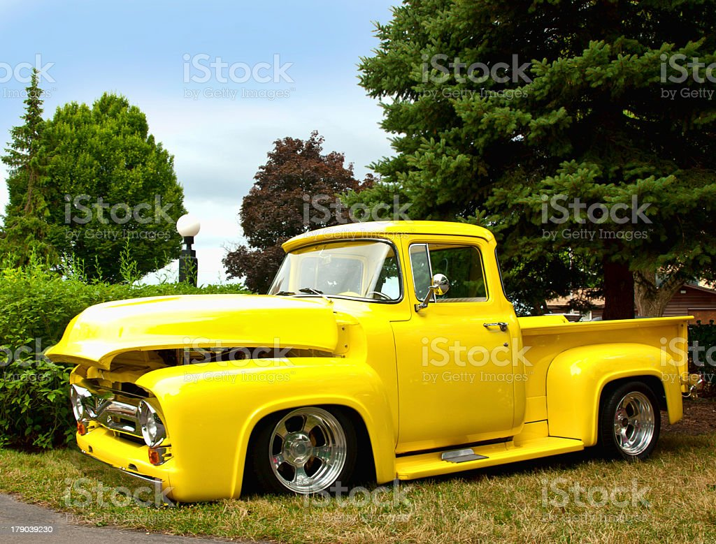 yellow pick-up truck royalty-free stock photo