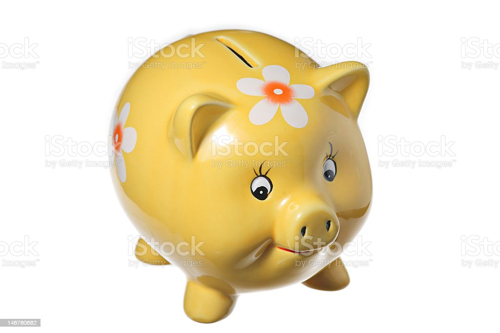 Yellow piggy bank royalty-free stock photo