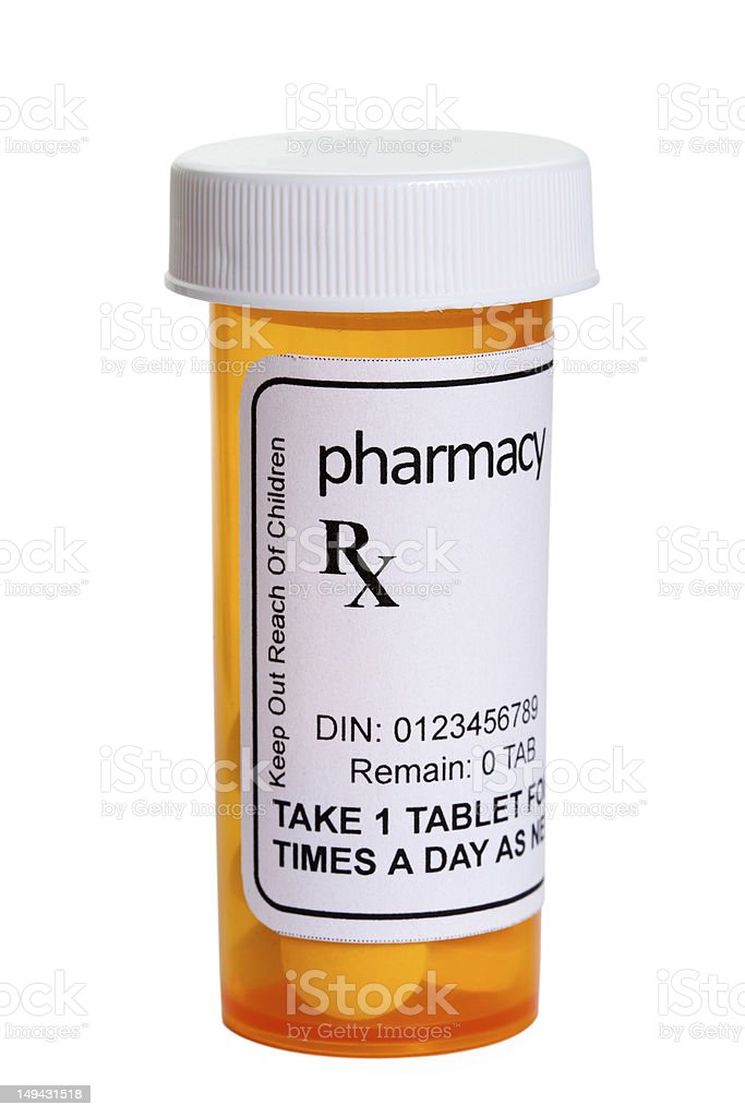 Yellow Pill Bottle stock photo