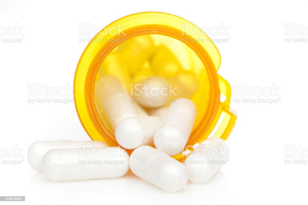 Yellow pill bottle royalty-free stock photo