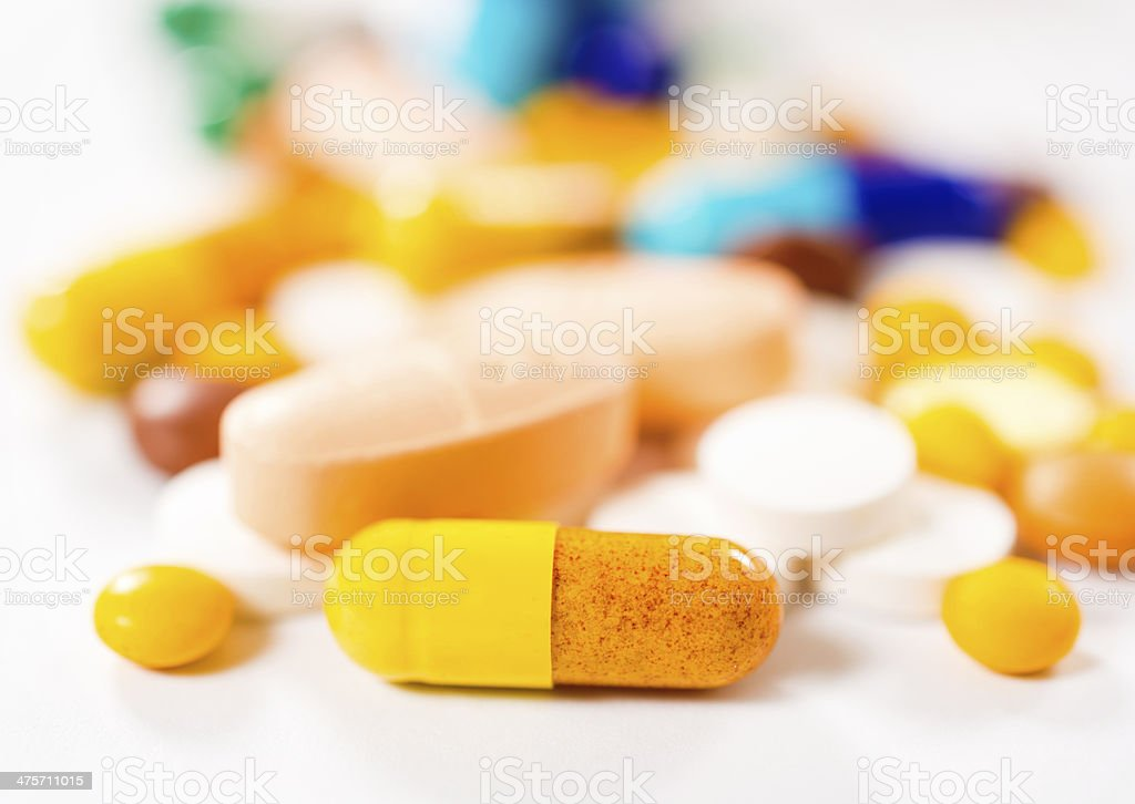 Yellow pill royalty-free stock photo