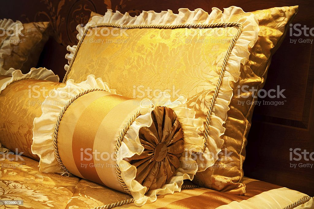 yellow pillows stock photo