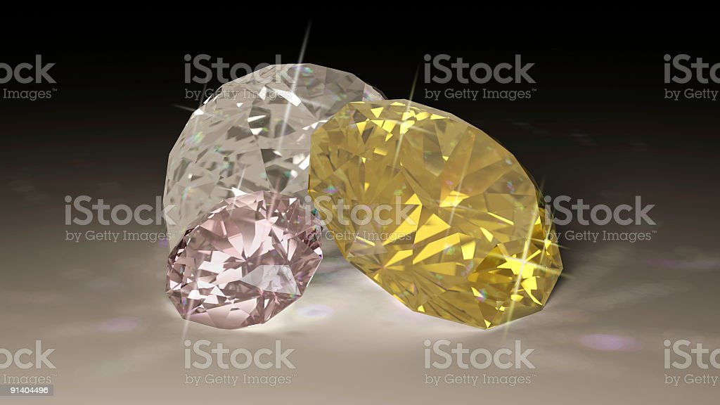 Yellow Pink and Clear Diamonds (Rendering) royalty-free stock photo
