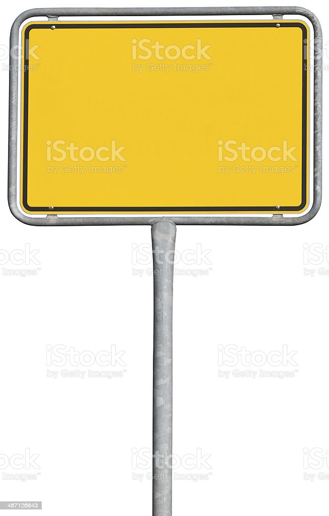 yellow placement sign (clipping path included) royalty-free stock photo