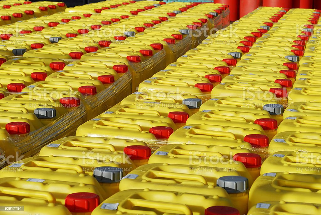 Yellow plastic cemical cans royalty-free stock photo