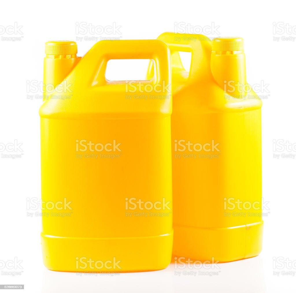 Yellow plastic container stock photo