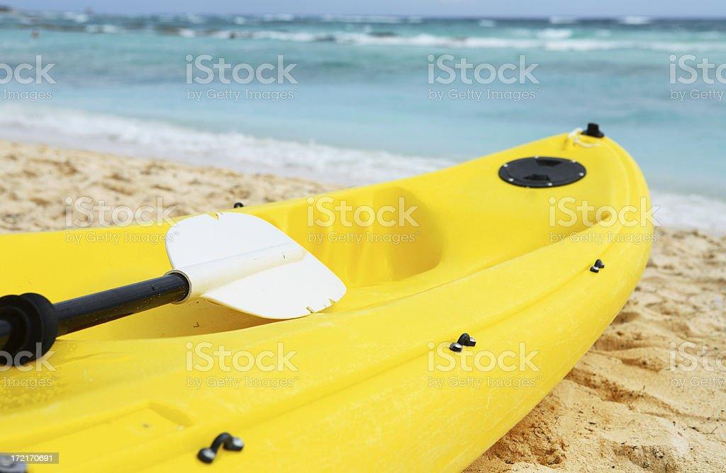 Yellow plastic kayak royalty-free stock photo