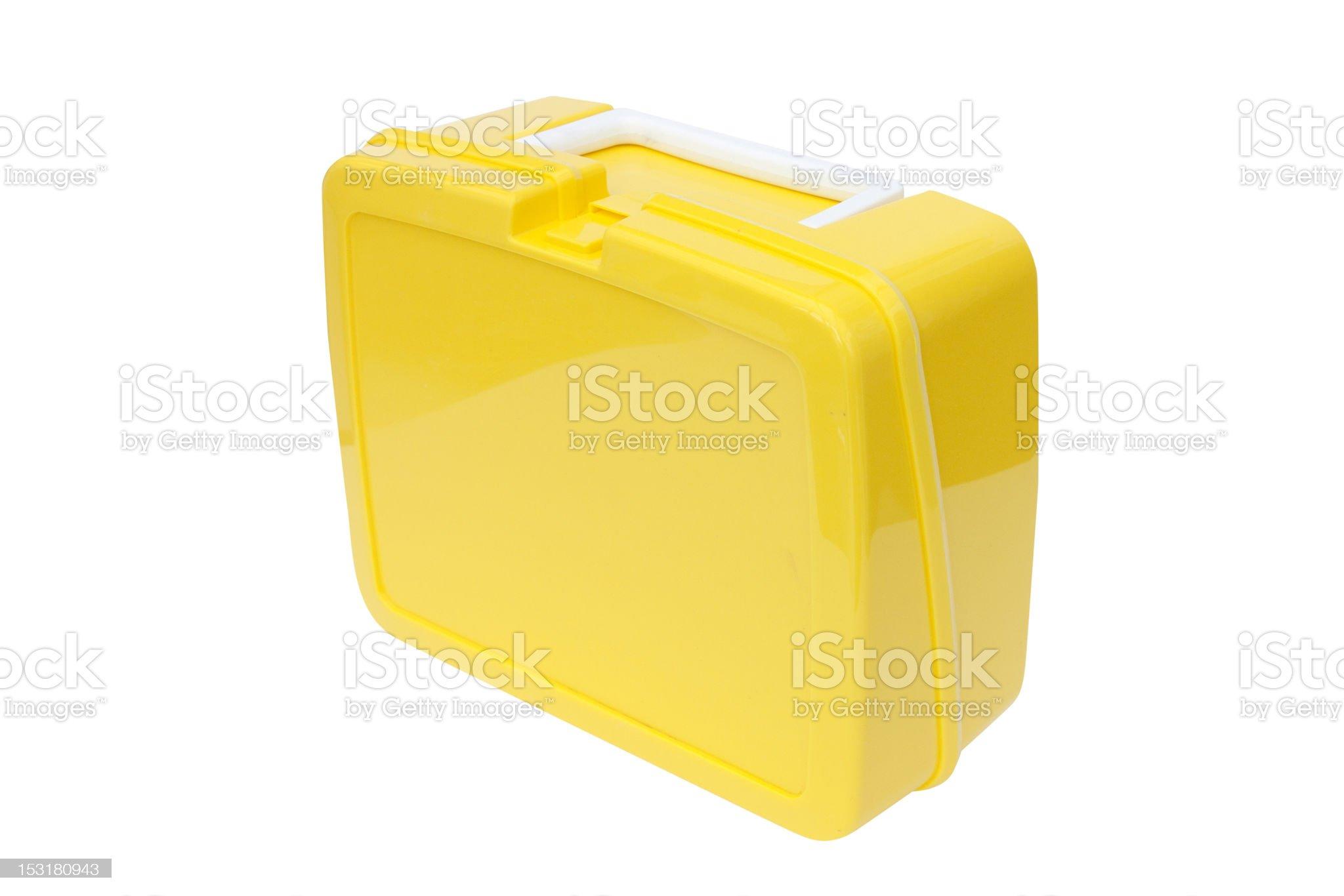 yellow plastic lunchbox royalty-free stock photo
