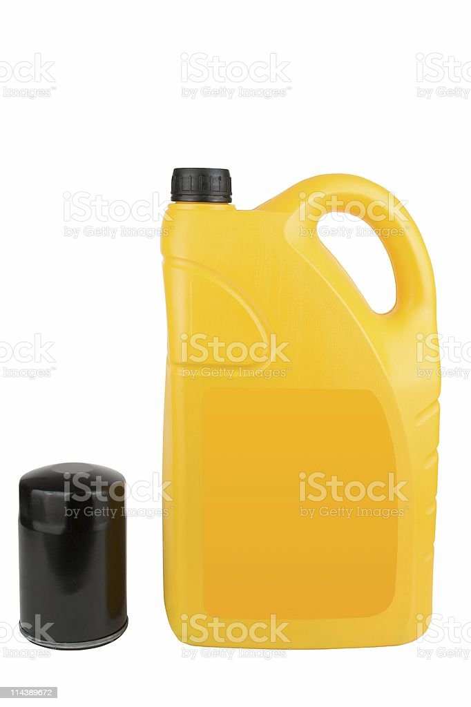 Yellow Plastic Oil Can And Filter stock photo