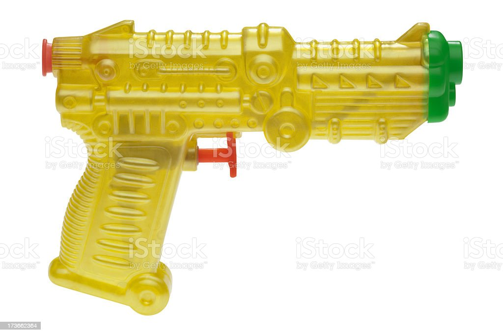 Yellow Plastic Squirt Gun, Child's Toy with Clipping Path royalty-free stock photo