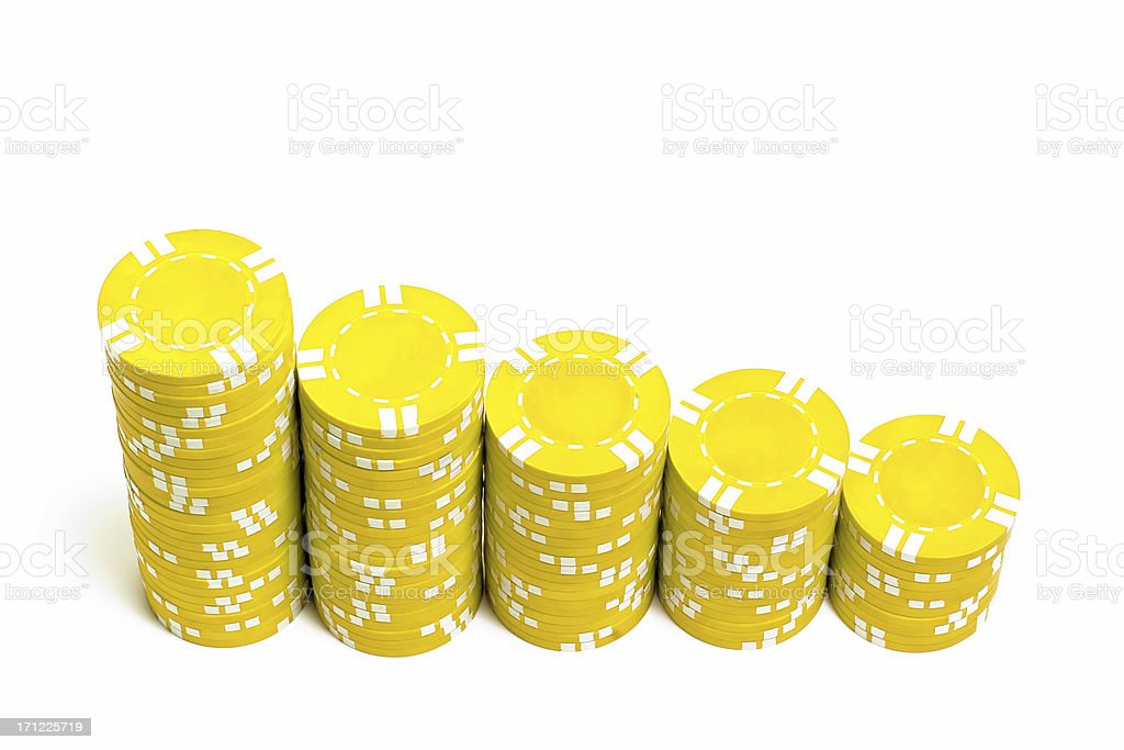 Yellow Poker Chips stock photo