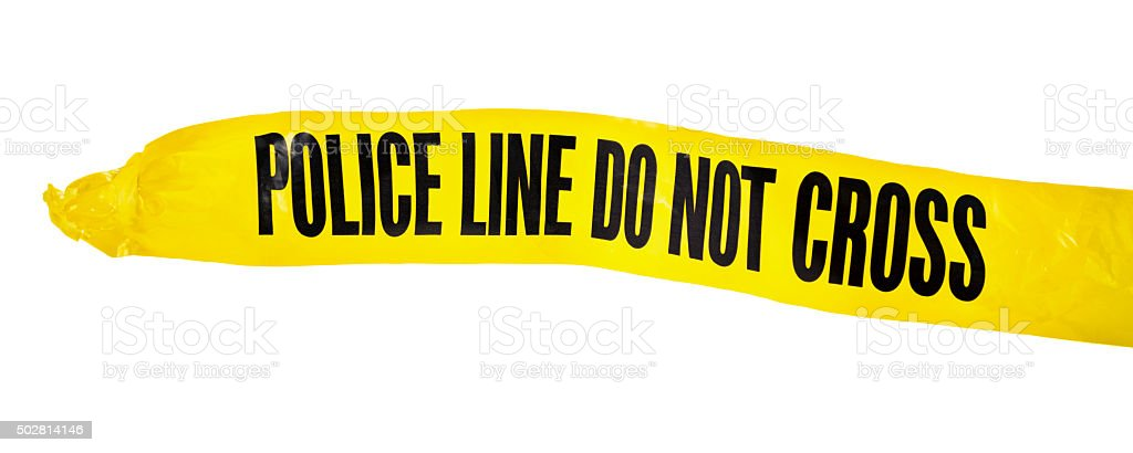 Yellow POLICE LINE tape on white background stock photo