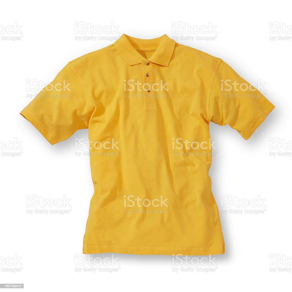 Yellow polo shirt on white background stock photo