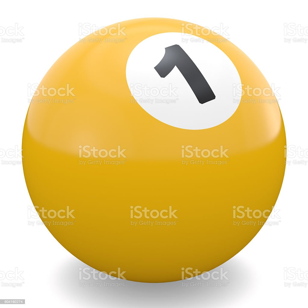 Yellow pool ball with white stock photo