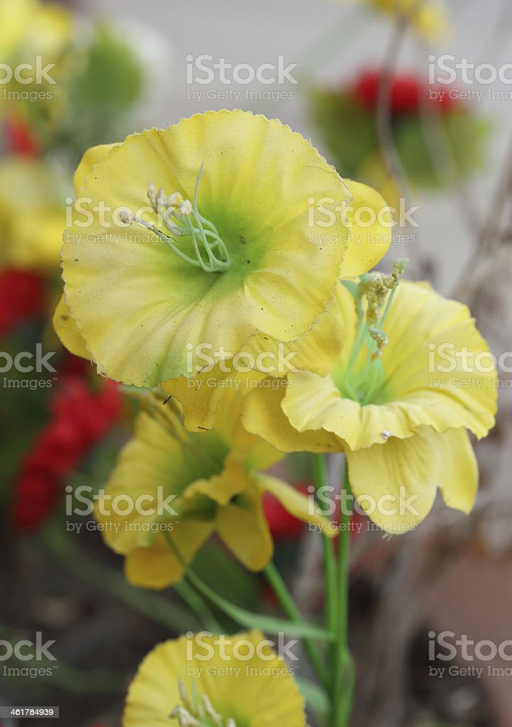 yellow poppies of artificial flowers stock photo