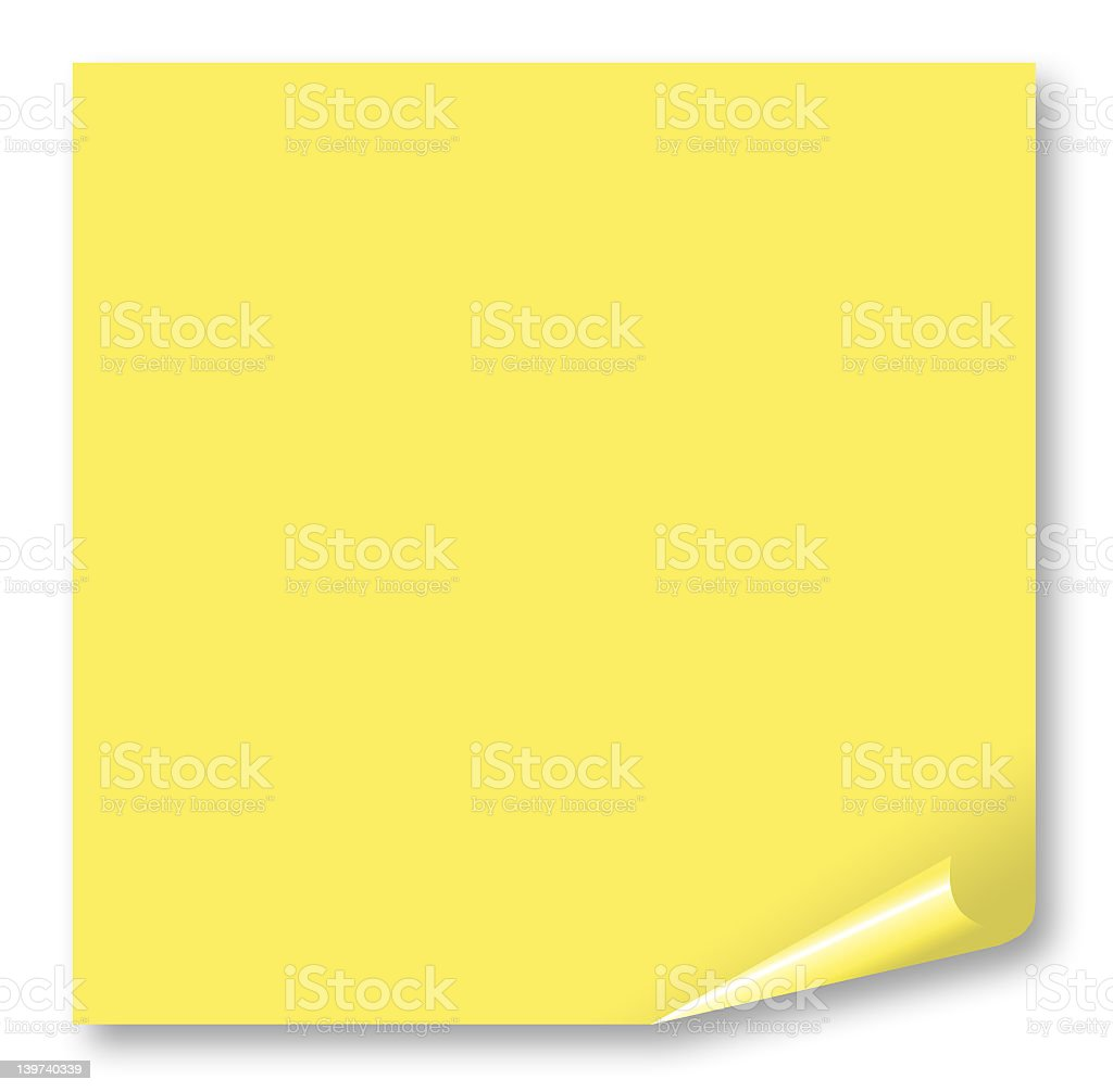 Yellow post it note with curled corner royalty-free stock photo