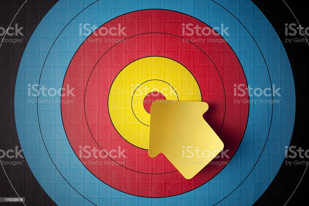 Yellow post-it note on the target stock photo