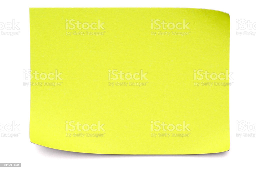 Yellow Post-it Note on white royalty-free stock photo