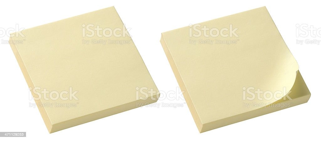 Yellow Post-It Note pads. Clipping Path. stock photo