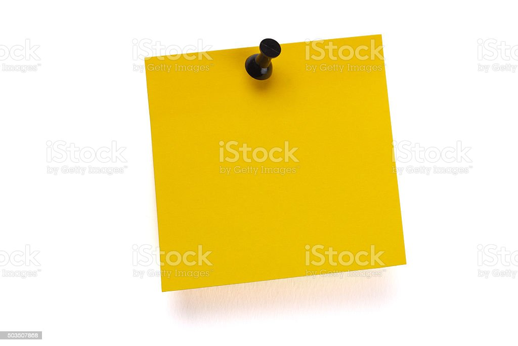 Yellow Post-it Note with Black Push Pin stock photo
