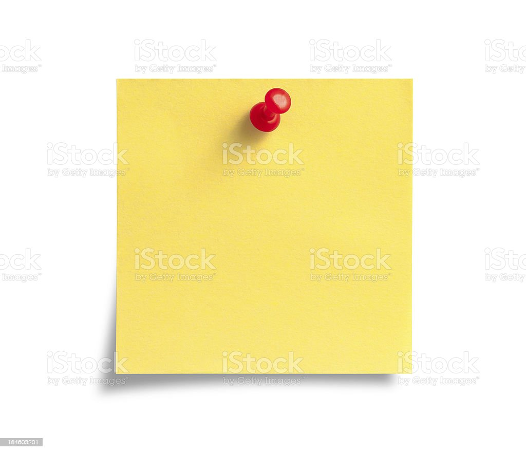 Yellow Post-it Note with Red Push Pin stock photo
