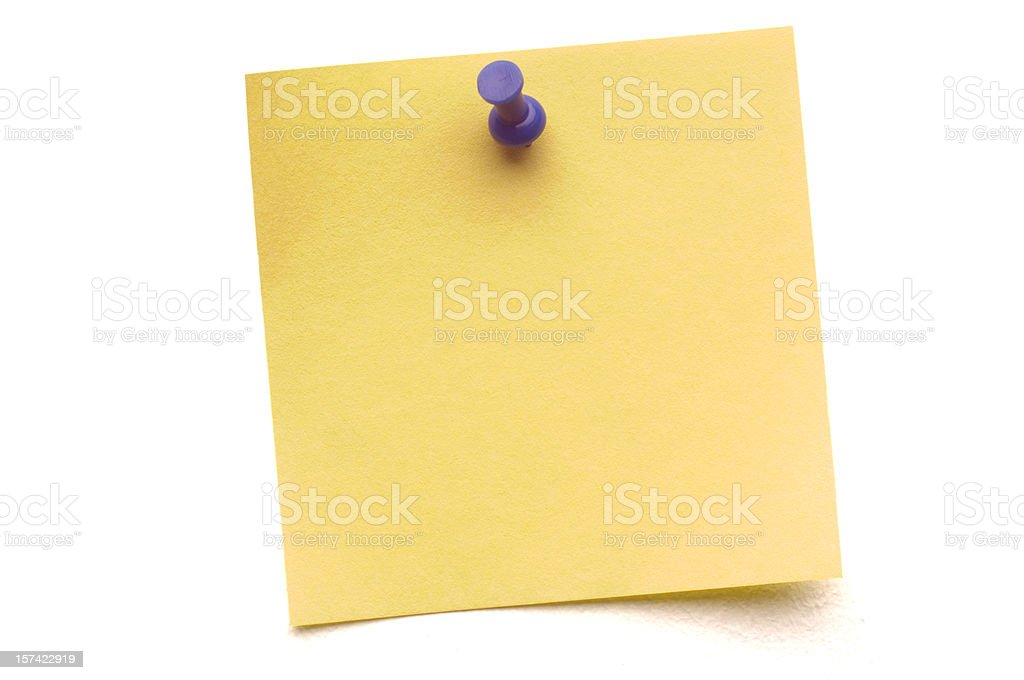 Yellow Post-it with Push Pin isolated on white stock photo