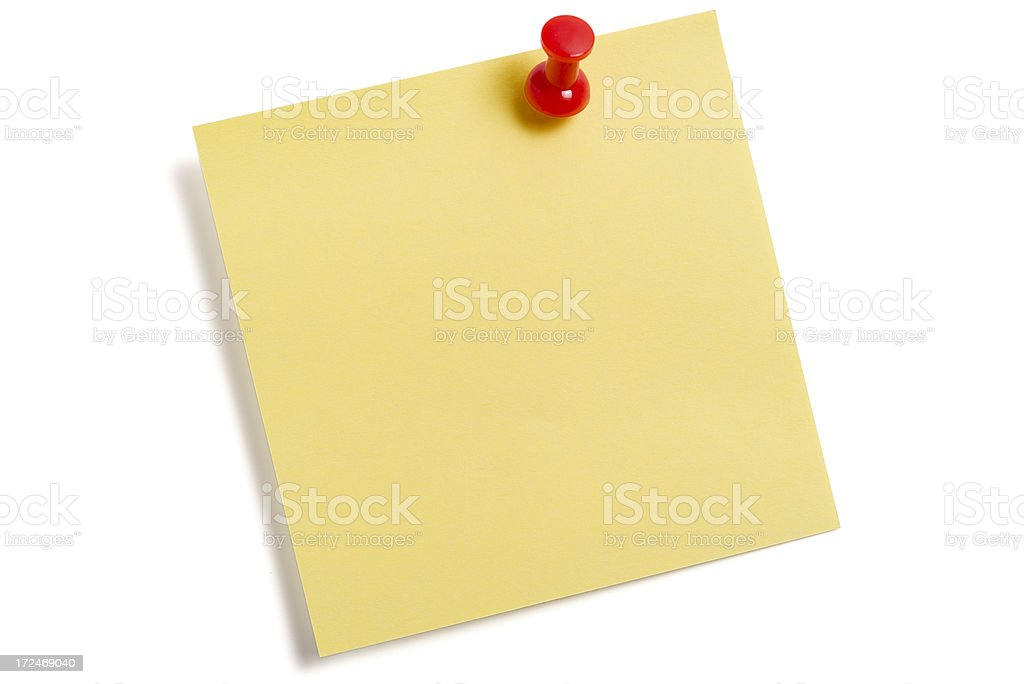 Yellow Post-it with Push Pin royalty-free stock photo