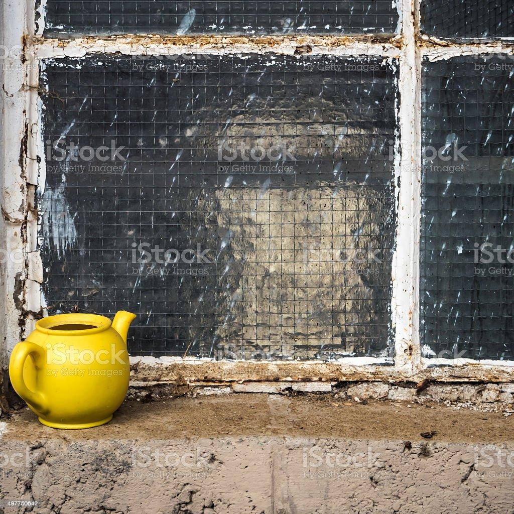 Yellow pot stock photo