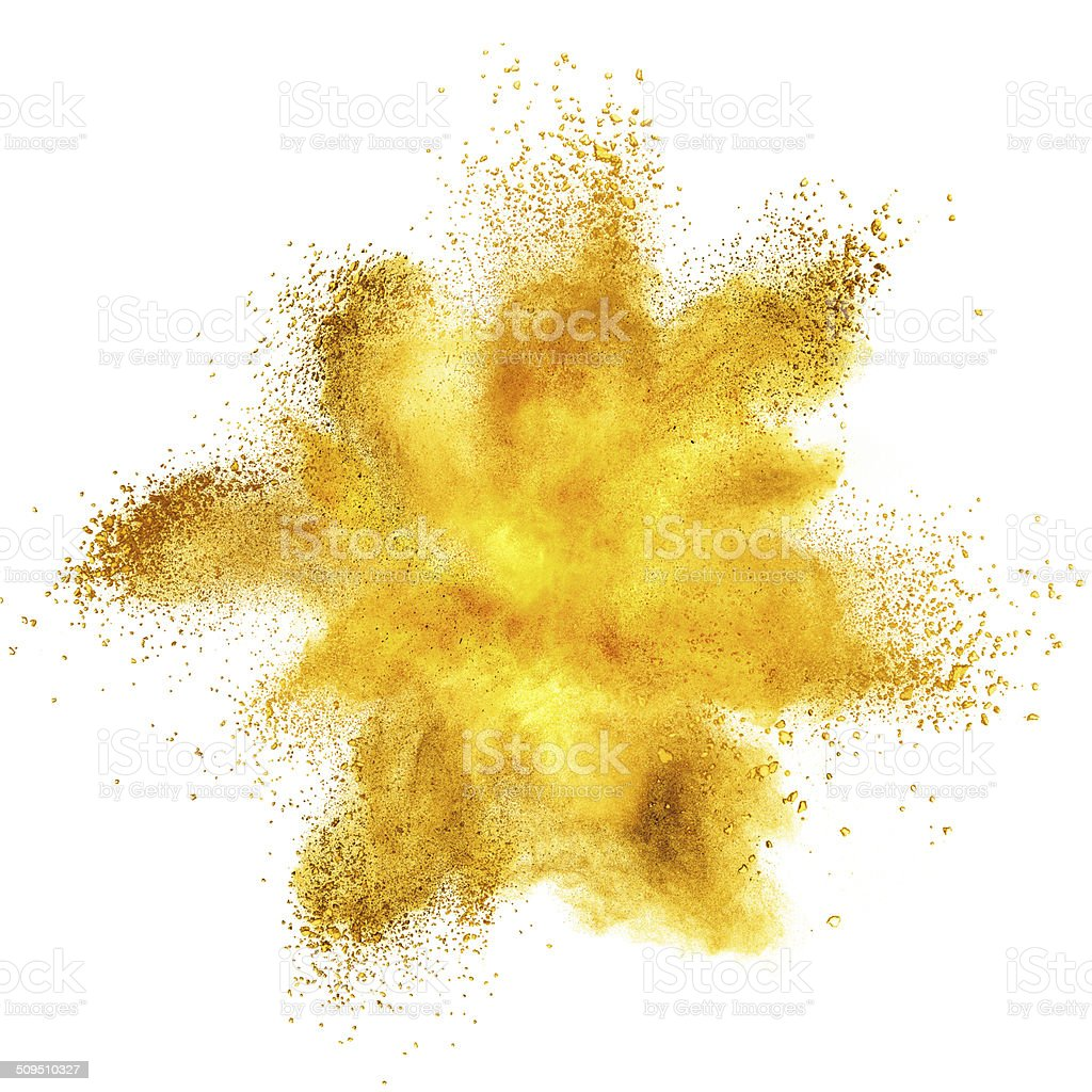 Yellow powder explosion isolated on white stock photo