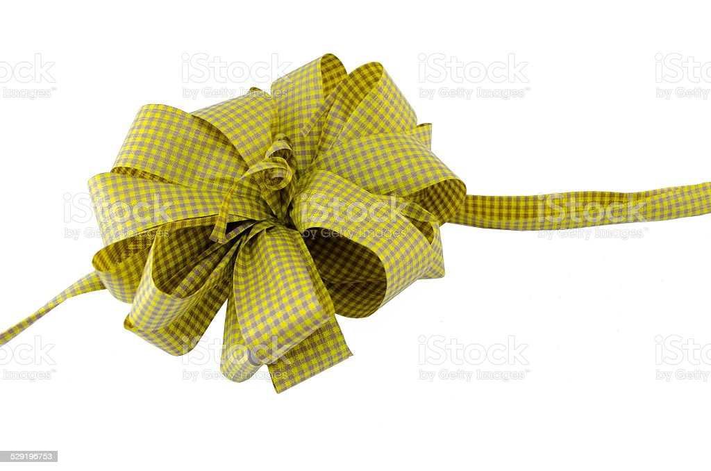 Yellow present ribbon isolated royalty-free stock photo