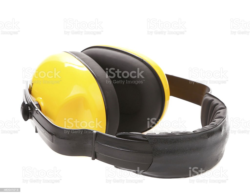 Yellow protective ear muffs. stock photo