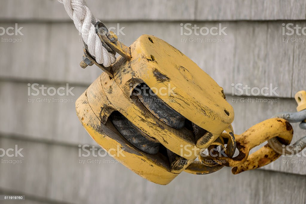 Yellow Pulley stock photo
