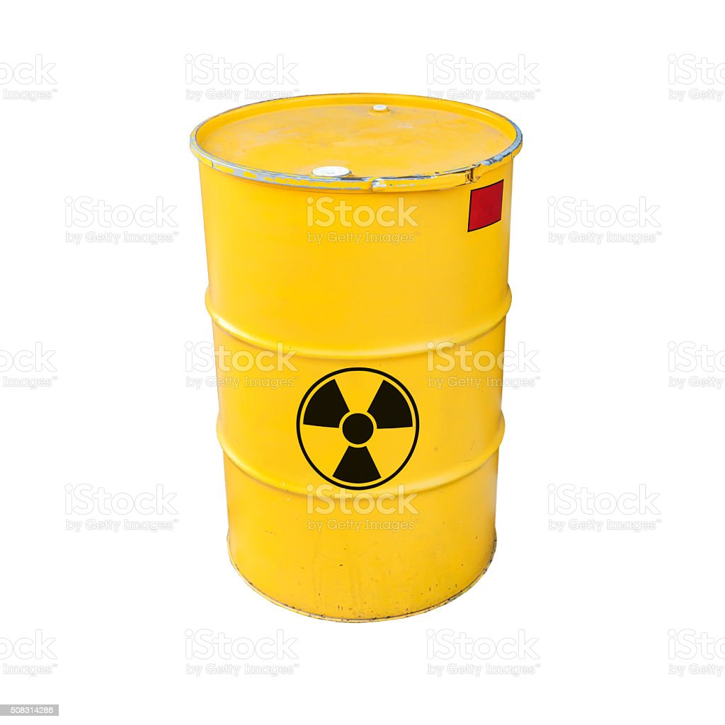 Yellow radioactive barrel isolated on white stock photo