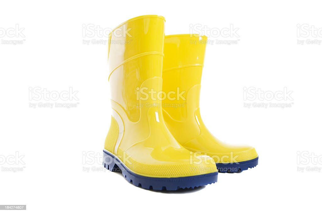 Yellow Rain Boots stock photo