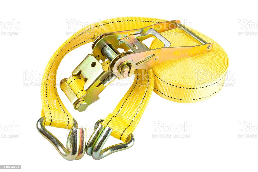 Yellow Ratchet truck cargo tie downs on white backrounds stock photo