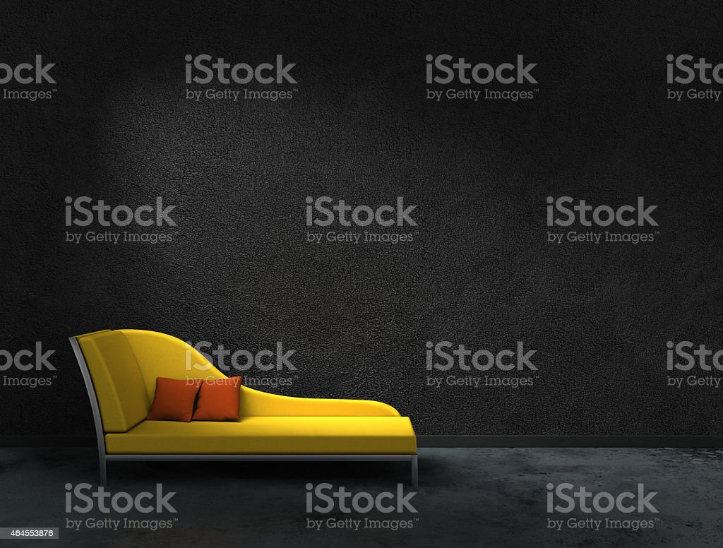 yellow recamier and black wall stock photo