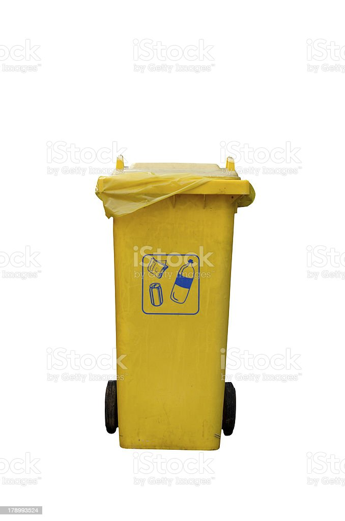 Yellow Recycle Bin royalty-free stock photo