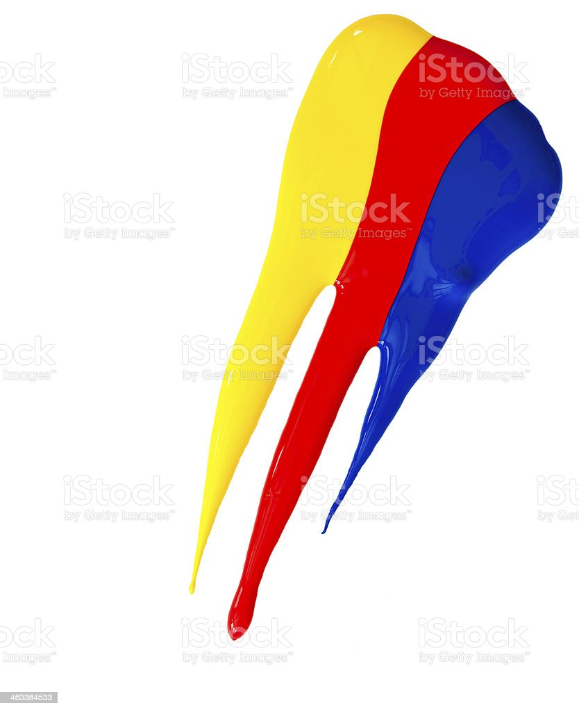Yellow Red and Blue Acrylic Paint Drips stock photo