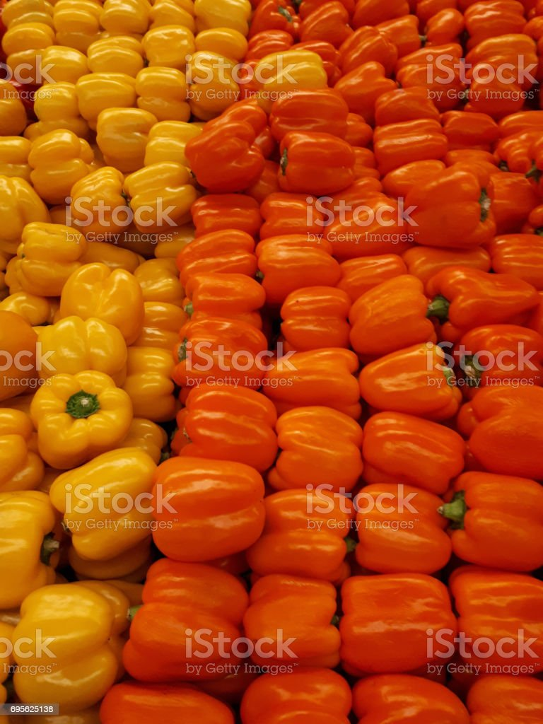 Yellow & red bell peppers stock photo