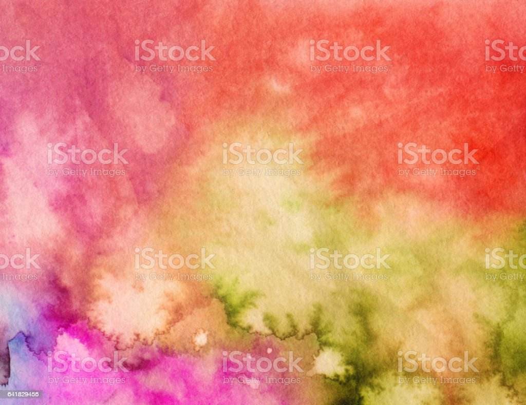 Yellow red green hand painted mottled background vector art illustration
