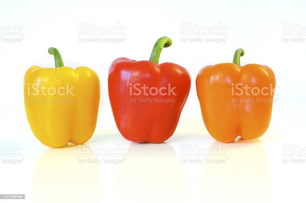Yellow, Red & Orange Peppers royalty-free stock photo