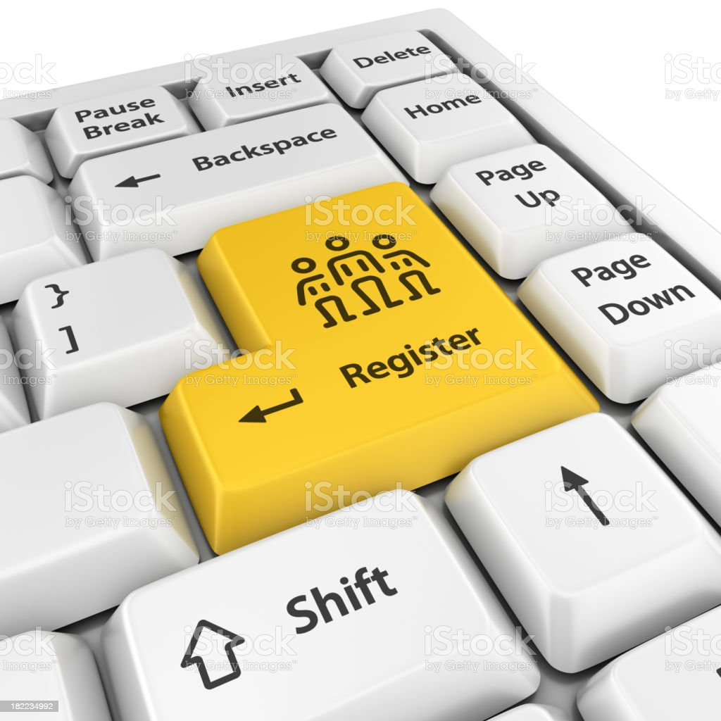 yellow register enter button royalty-free stock photo