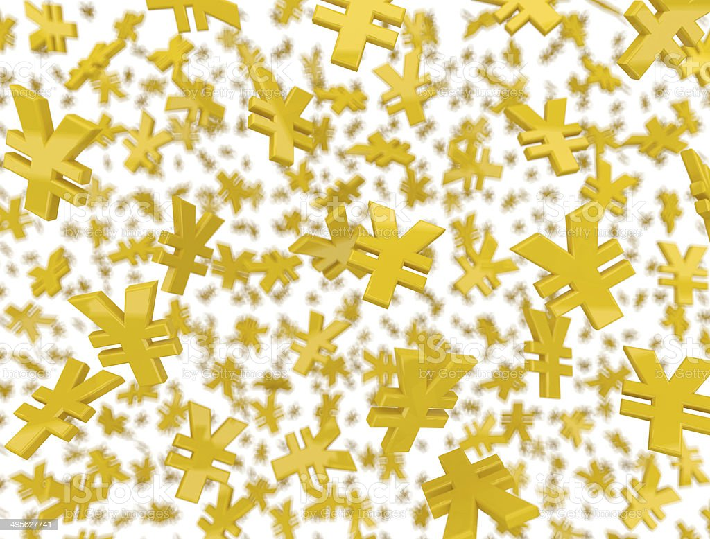 Yellow renminbi signs raining. stock photo