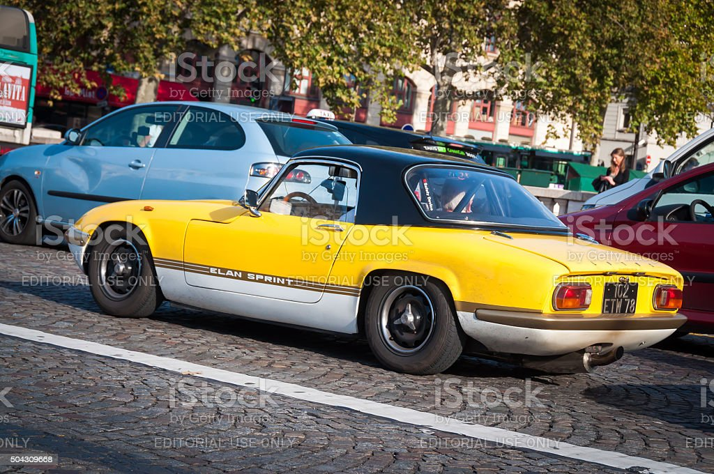 Yellow retro car Lotus stock photo