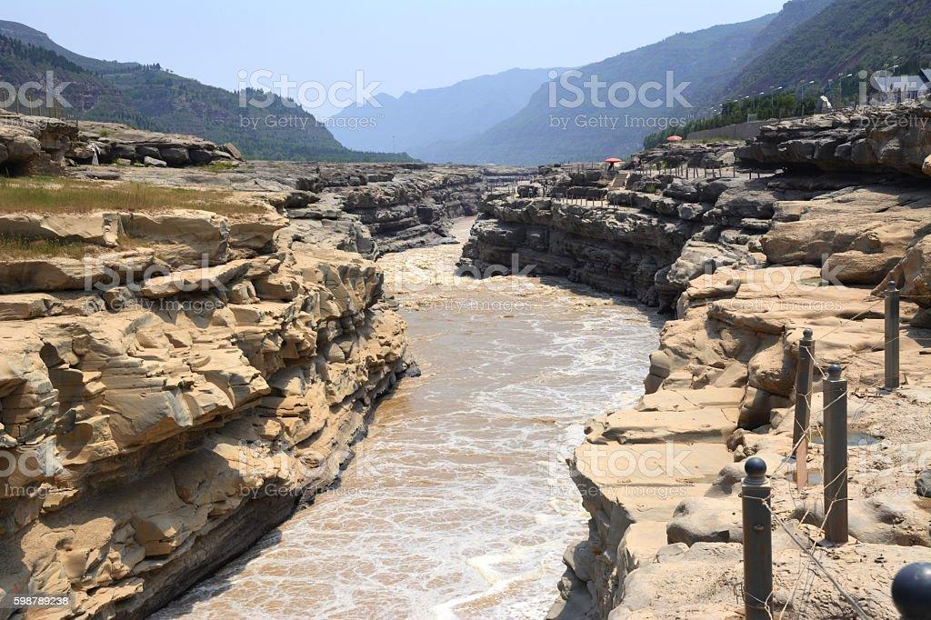 Yellow river at Hukou waterfall, Shaanxi, China stock photo