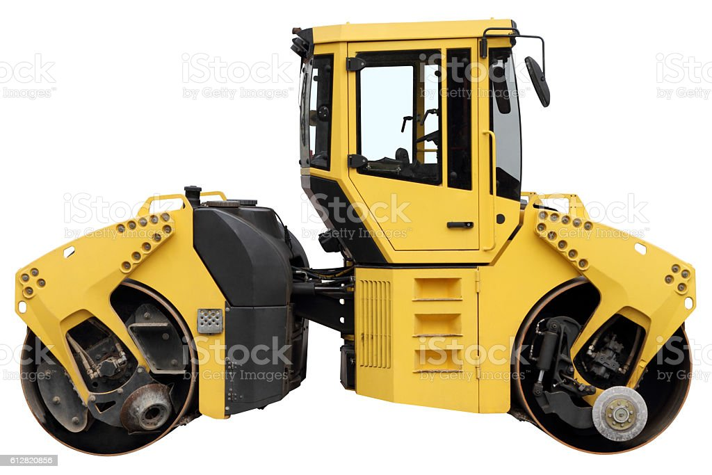 Yellow road roller. stock photo