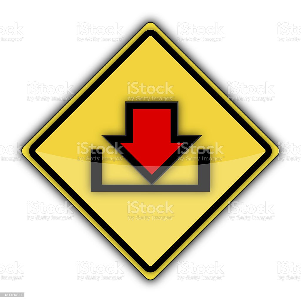 Yellow Road Sign   Download Arrow royalty-free stock photo