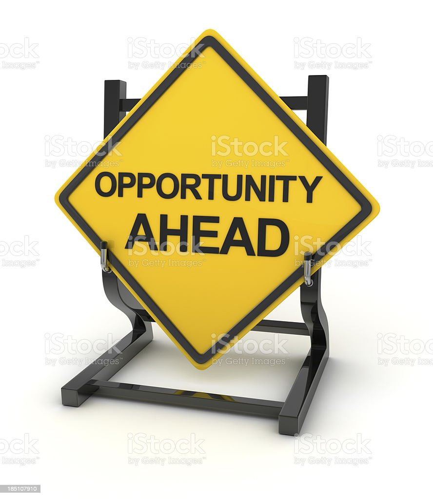 Yellow road sign in white background indicating opportunity royalty-free stock photo